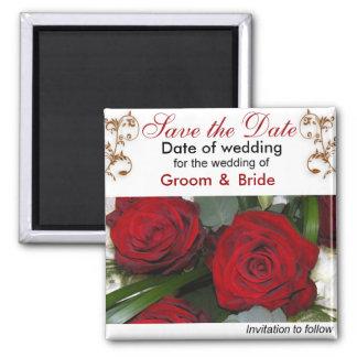 Sauvez les roses rouges de date magnet carré