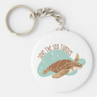Sauvez les tortues de mer porte-clé rond