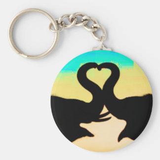 Sauvez les troncs de coeur d'éléphants porte-clé rond