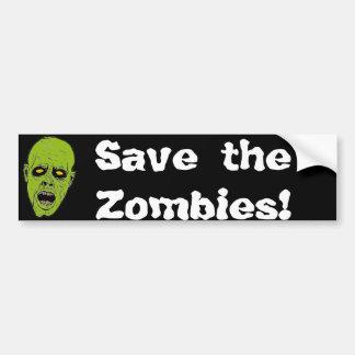 Sauvez les zombis autocollant pour voiture