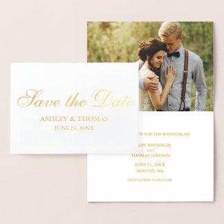 Sauvez l'or de faire-part de fiançailles de photo