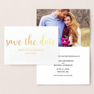 Sauvez l'or de faire-part de photo de fiançailles