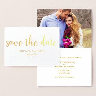 Sauvez l'or de photo de faire-part de fiançailles