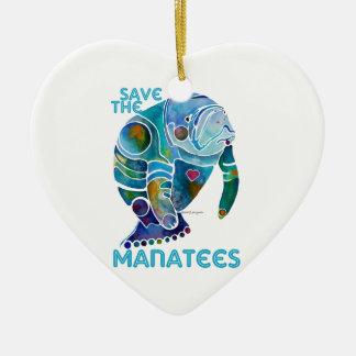 Sauvez l'ornement bleu de coeur de lamantins ornement cœur en céramique