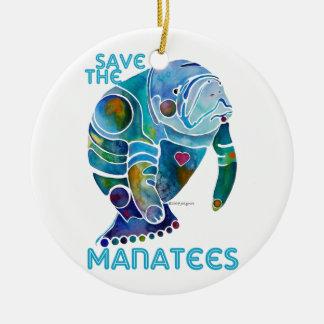 Sauvez l'ornement en céramique de lamantins ornement rond en céramique