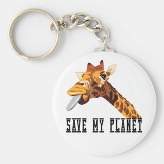Sauvez ma girafe de planète porte-clé rond