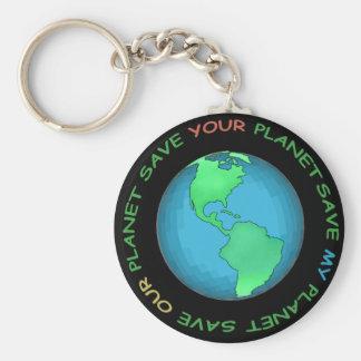 Sauvez notre conception de planète porte-clé rond