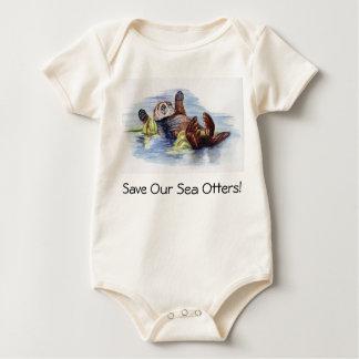 Sauvez notre plante grimpante de bébé de loutres body