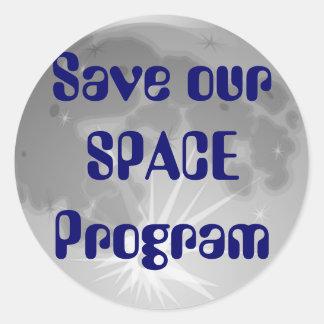 Sauvez notre programme spatial autocollant rond