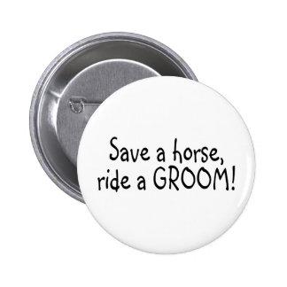 Sauvez un tour de cheval un marié badge rond 5 cm