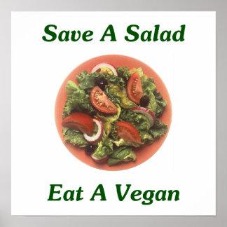 Sauvez une salade, mangez un végétalien posters