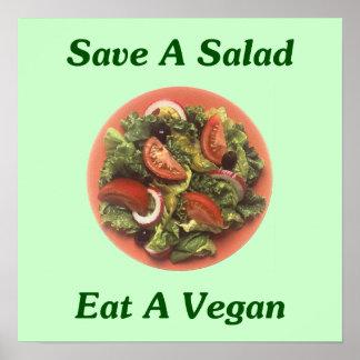Sauvez une salade, mangez un végétalien poster