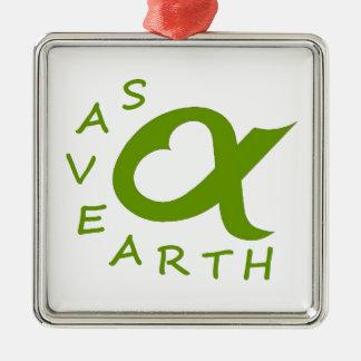 save earth planète ornement carré argenté