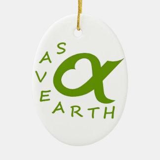 save earth planète ornement ovale en céramique