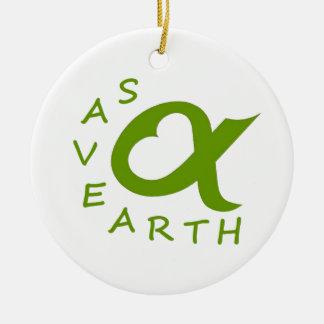 save earth planète ornement rond en céramique