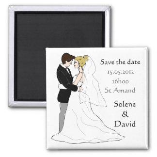 Save the date magnet couple de mariés magnet carré