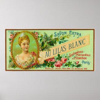 Savon LabelParis, France de Lilas Blanc d'Au Affiches