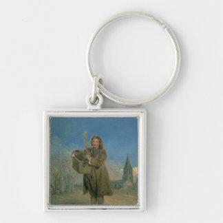 Savoyard avec Marmot, 1715-16 Porte-clé Carré Argenté