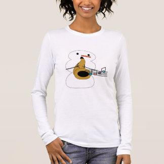Saxo avec la chemise de bonhomme de neige t-shirt à manches longues