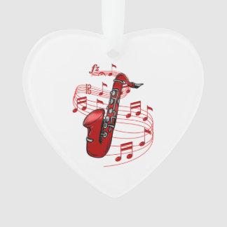 Saxo rouge avec des notes de musique
