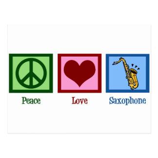 Saxophone d'amour de paix cartes postales
