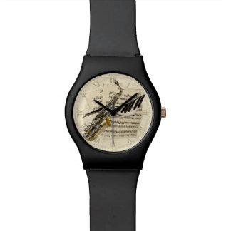 Saxophone et musique de piano montres bracelet