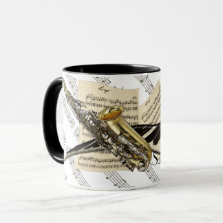 Saxophone et musique de piano personnalisée mug