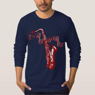 Saxophone et notes rouges de thème de musique t-shirt