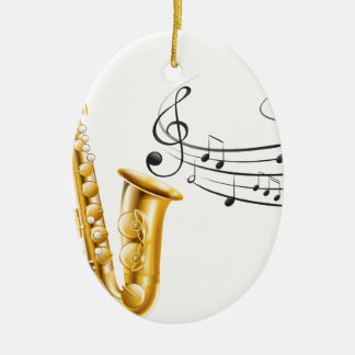 Saxophone Ornement Ovale En Céramique