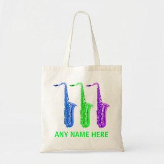 Saxophones au néon PERSONNALISÉS !  Ajoutez n'impo Sac En Toile Budget