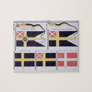 Scandinave diminue, d'un livre français des drapea puzzle