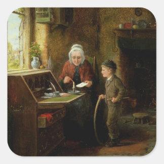 Scellant une lettre, 1890 (huile sur le panneau) sticker carré
