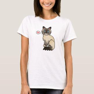 Scellez le point amour tigré de chat de t-shirt