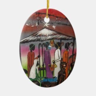 Scène africaine de nativité de Noël Ornement Ovale En Céramique