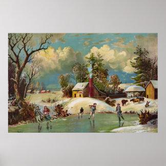 Scène américaine de Noël de la vie d hiver Poster