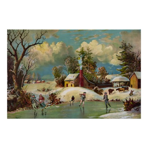 Scène américaine de Noël de la vie d'hiver Poster
