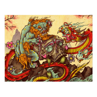 Scène asiatique avec le chien et le dragon de foo cartes postales