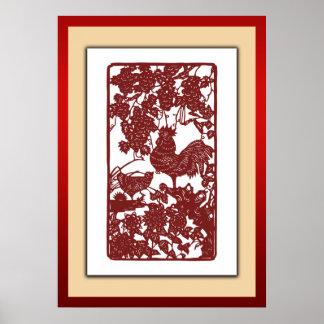 Scène chinoise de Papercut de coq de zodiaque Posters
