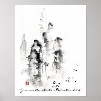 Scène chinoise orientale classique de montagne d e posters