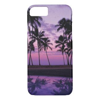 Scène colorée des palmiers au coucher du soleil coque iPhone 7