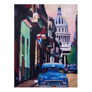 Scène cubaine de rue d'Oldtimer à La Havane Cuba Carte Postale
