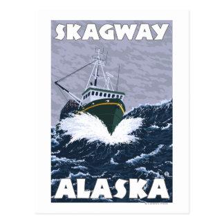 Scène de bateau de pêche - Skagway, Alaska Carte Postale