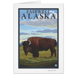 Scène de bison - Fairwell, Alaska Carte De Vœux