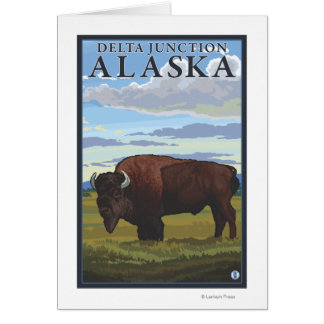 Scène de bison - jonction de delta, Alaska Carte De Vœux