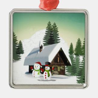 Scène de bonhomme de neige de Noël Ornement Carré Argenté