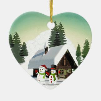 Scène de bonhomme de neige de Noël Ornement Cœur En Céramique