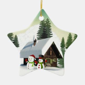 Scène de bonhomme de neige de Noël Ornement Étoile En Céramique