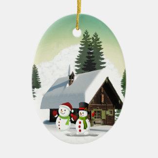 Scène de bonhomme de neige de Noël Ornement Ovale En Céramique