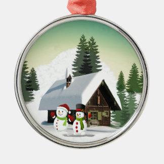Scène de bonhomme de neige de Noël Ornement Rond Argenté