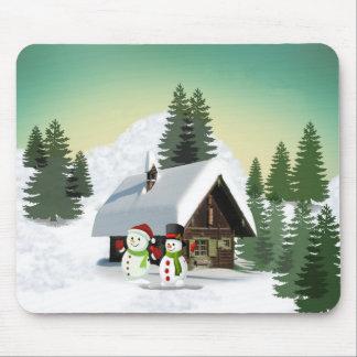 Scène de bonhomme de neige de Noël Tapis De Souris